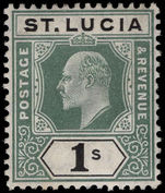 St Lucia 1904-10 1s green and black lightly mounted mint.