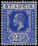 St Lucia 1912-21 2½d deep bright blue lightly mounted mint.