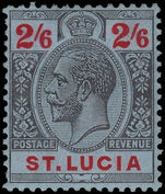 St Lucia 1912-21 2s6d black and red on blue lightly mounted mint.