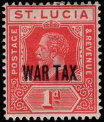 St Lucia 1916 WAR TAX lightly mounted mint.