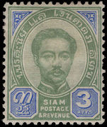Thailand 1887-91 3a green and blue lightly mounted mint.