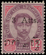 Thailand 1898-99 3a on 12a purple and carmine (11½mm opt) lightly mounted mint.
