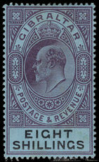 Gibraltar 1903 8s dull purple and blue on black Crown CA lightly mounted mint.