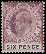 Gibraltar 1904-08 6d dull purple and violet chalky paper Mult Crown CA lightly mounted mint.