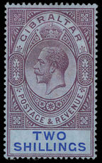 Gibraltar 1912-24 2s dull purple and blue on blue lightly mounted mint.