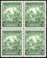 Barbados 1938-47 ½d green perf 13½ block of 4 fine unmounted mint.