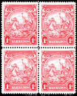 Barbados 1938-47 1d scarlet perf 14 block of 4 fine unmounted mint.