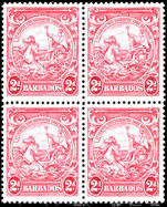 Barbados 1938-47 2d claret block of 4 fine unmounted mint.