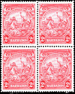 Barbados 1938-47 2d carmine perf 14 block of 4 fine unmounted mint.