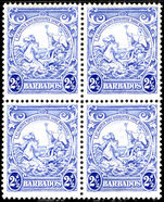 Barbados 1938-47 2½d blue block of 4 fine unmounted mint.