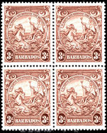 Barbados 1938-47 3d brown perf 13½ block of 4 fine unmounted mint.