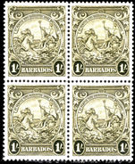 Barbados 1938-47 1s olive-green block of 4 fine unmounted mint.
