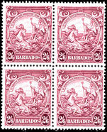 Barbados 1938-47 2s6d purple block of 4 fine unmounted mint.