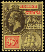 British Guiana 1913-21 96c black and vermillion on yellow MCA lightly mounted mint.