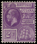 British Guiana 1921-27 2c bright violet MSCA lightly mounted mint.