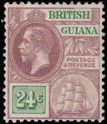 British Guiana 1921-27 24c dull purple and green MSCA lightly mounted mint.