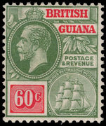 British Guiana 1921-27 60c green and rosine MSCA lightly mounted mint.