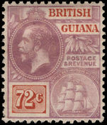 British Guiana 1921-27 72c dull purple and orange brown MSCA lightly mounted mint.