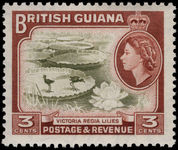British Guiana 1954-63 3c Water Lilies unmounted mint.