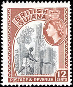 British Guiana 1963-65 12c Felling Greenheart wmk 12 unmounted mint.