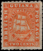 British Guiana 1866-71 2c red-orange perf 10 part gum.