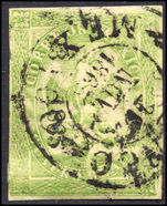 Mexico 1864-66 4r green consignment number and date in small letters (NO DISTRICT NAME) fine used.