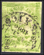 Mexico 1864-66 4r green consignment number and date in small letters (thin) fine used.