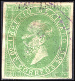 Mexico 1866-67 50c green litho date and number only fine used.
