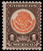 Mexico 1934-36 1p Coat of Arms wmk MEXICOCORREOS ummounted mint.