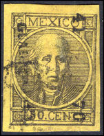 Mexico 1868 50c black on lemon imperf thick figures of value fine used.
