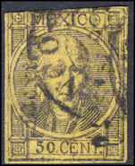Mexico 1868 50c black on straw imperf thick figures of value fine used.