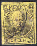 Mexico 1868 50c black on lemon imperf thick figures of value NO STOP fine used.