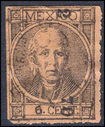 Mexico 1868 6c black on orange-brown thick figures of value perf fine used.