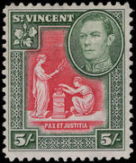 St Vincent 1938-47 5s scarlet and deep green lightly mounted mint.