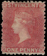St Vincent 1862-68 1d rose red no wmk perf 11 unused part own gum.