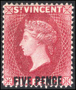 St Vincent 1893-94 5d on 6d carmine-lake lightly mounted mint.