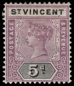 St Vincent 1899 5d dull mauve and black lightly mounted mint.
