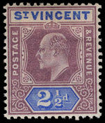 St Vincent 1902 2½d dull purple and blue lightly mounted mint.