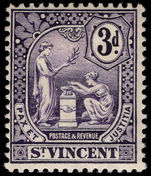 St Vincent 1907-08 3d violet lightly mounted mint.