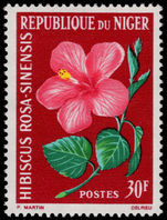 Niger 1964 30f Hibiscus rosa-sinensis unmounted mint.