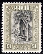 Papua 1932-40 £1 Delta House fine mint lightly hinged.