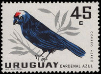 Uruguay 1962 45c Diademed Tanager unmounted mint.