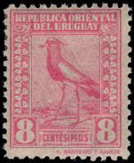 Uruguay 1924 8c rosine Chilean Lapwing, Barrios imprint mounted mint.