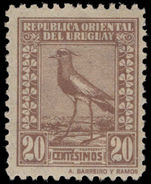 Uruguay 1924 20c pale brown Chilean Lapwing, Barrios imprint mounted mint.