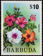 Barbuda 1974-75 $10 Hibiscus unmounted mint.
