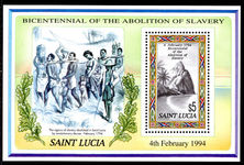 St Lucia 1994 Abolition of Slavery souvenir sheet unmounted mint.