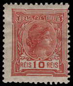 Brazil 1918-20 10r Chestnut no watermark mounted mint.