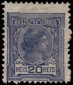 Brazil 1918-20 20r indigo no watermark mounted mint.