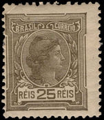Brazil 1918-20 25r olive-grey no watermark mounted mint.