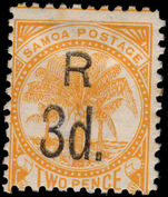 Samoa 1895-1900 3d on 2d orange-yellow handstamped lightly mounted mint.